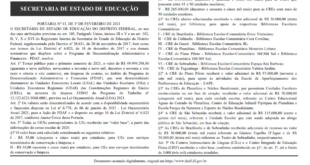 Relação do PDAF ordinário das escolas públicas é publicada no Diário Oficial